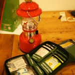 A commercial medical kit and the lantern I plan to use to do surgery on myself at night