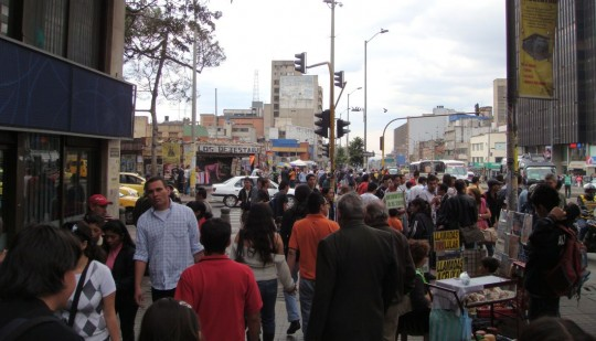 Crowded street in Bogota