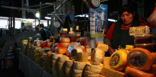 Cusco, food market. Lot of cheese!