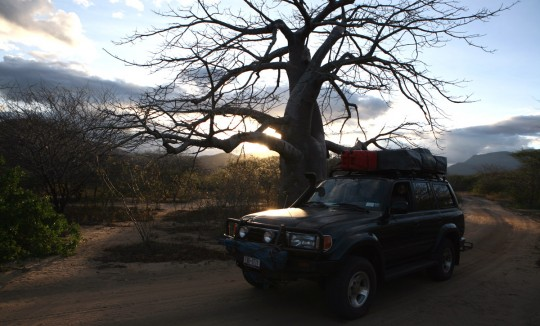Following a track leading to a Tanzania camp at dusk.