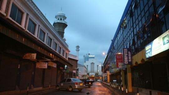 Nairobi city center at dusk.