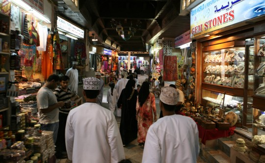 The Muscat souk at night.