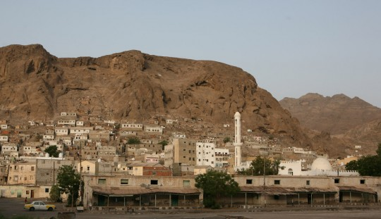 The city of Aden, set inside of a crater of an extinct volcano.