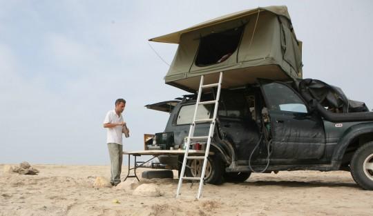 Camping on the Arabian Sea.