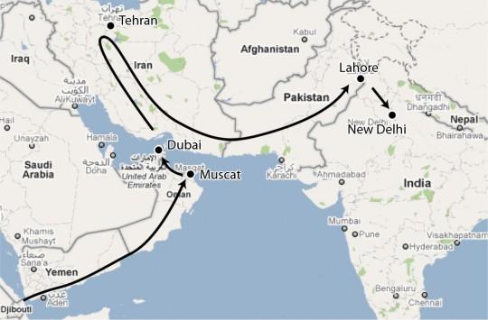 Upcoming countries include U.A.E, Iran, Pakistan and India. (google map)