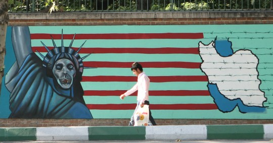 Mural on the wall of the old American embassy.