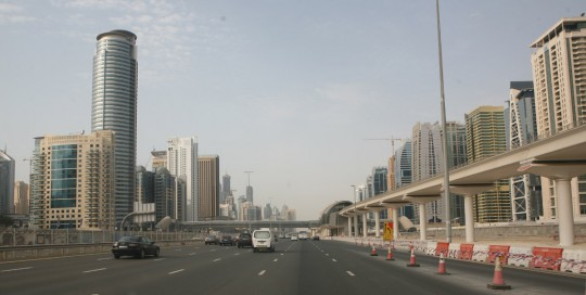 Driving in Dubai.