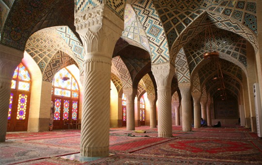 The Nasir-Ol-Molk Mosque prayer hall.