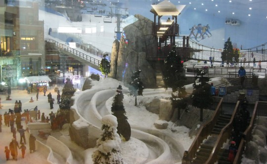 Ski and winter sports in the mall.