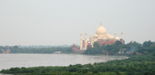 The Taj Mahal in Agra, India, seen from the the Agra Fort.