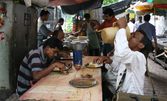 Street food in Calcutta's sidewalks.
