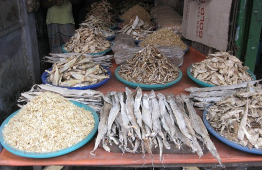 Dry fish at the Chittagong Old Market.