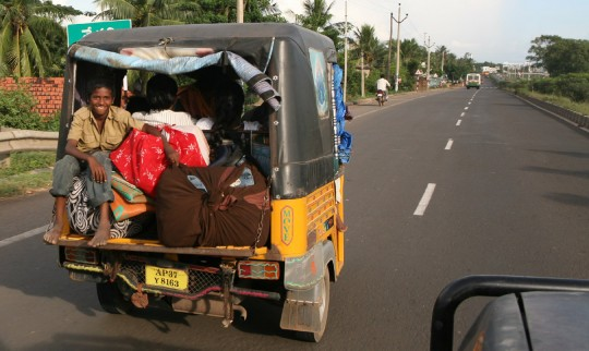 The main mode of transportation in India's smallest towns, the tuk-tuk.