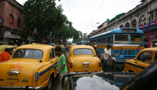 The traffic is always intense in big cities. Here, Calcutta.
