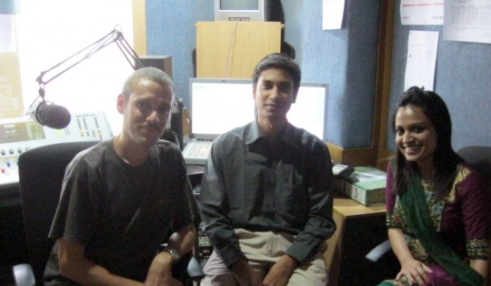 At the radio station with Tanvir.