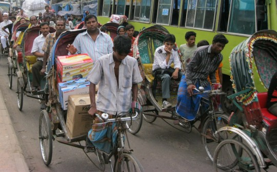 Dense traffic in the streets of Dhaka.