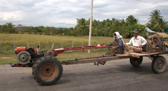 Vehicle of this type we will see a lot in Cambodia. Basically it is an engine on a wooden frame.