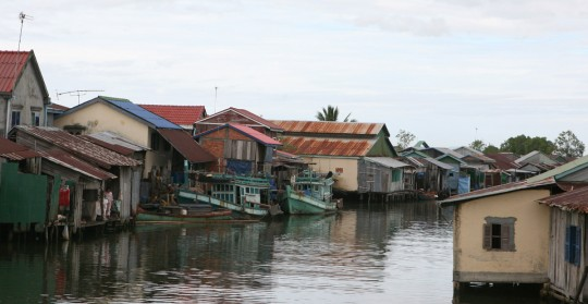 Life is centered on the river in this coastal town.