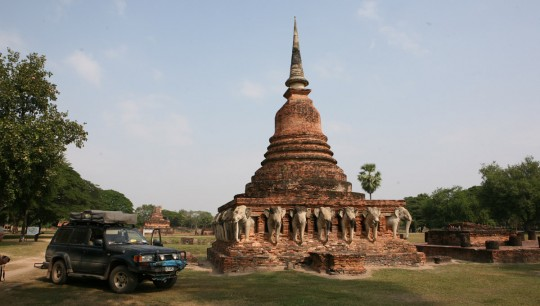 Leaving after camping in the Sukhothai ruins.