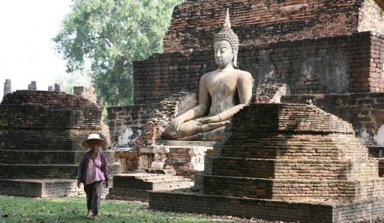 Buddha in one of the largest temple of Sukhothai.