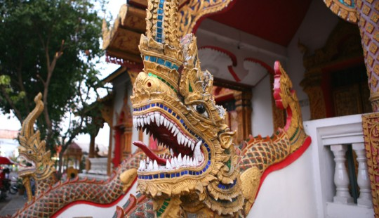 Outside decoration of a temple in Chiang Mai.