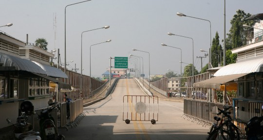 The Friendship bridge marking the border between Burma and Thailand.