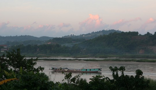 The Mekong River. From the place I spend the night, I can hear music coming from Laos on the other side.
