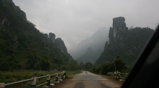 Arriving north of Vang Vieng. Spectacular landscapes reward the traveler.
