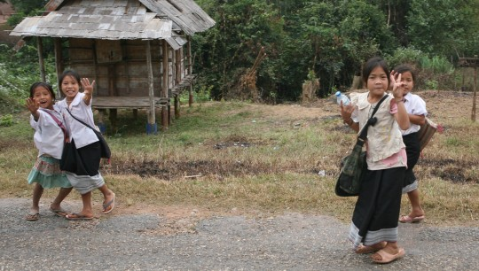 Laos's kids are always welcoming and excited to see travelers.