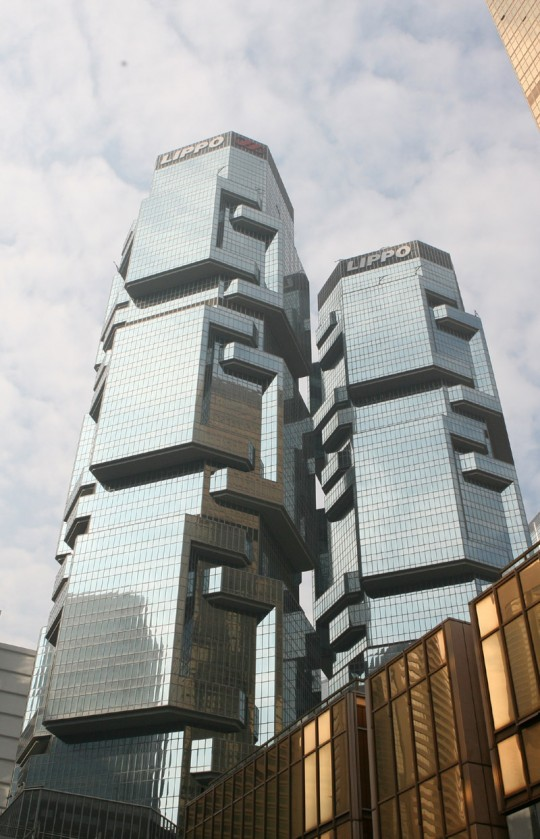 Lippo Centre, a strange building in Hong Kong.