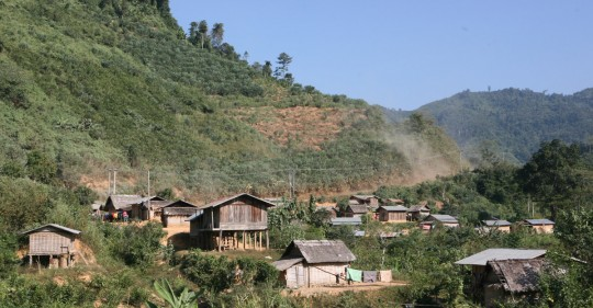 Typical village nested in the hills.