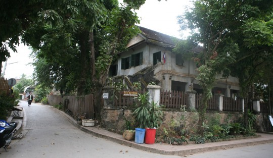 Street corner. Luang Prabang has a European feel.