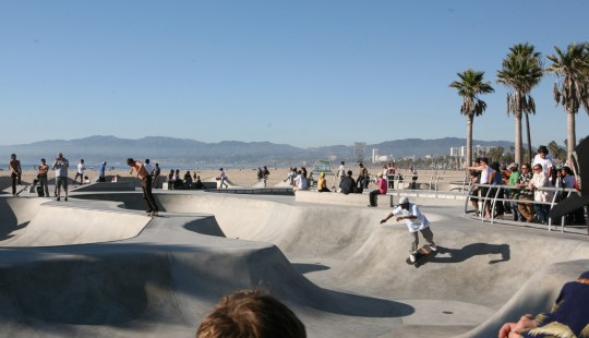 Skateboard park on Venice Beach, Los Angeles.