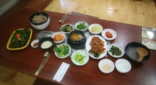 Typical Korean meal.
