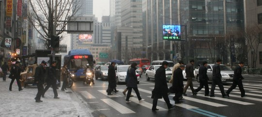 Typical street in downtown Seoul, a modern city.