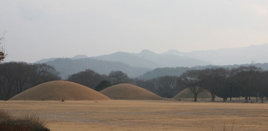 Gyeongju. Tumulus in the heart of the city.
