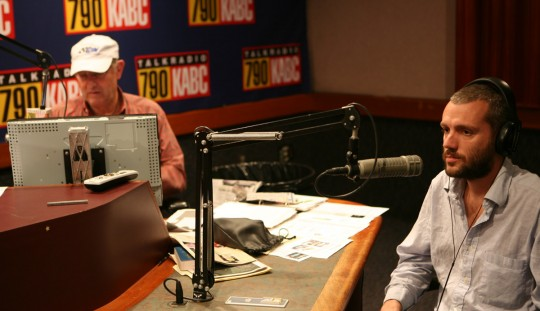At KABC Los Angeles radio station with Leon Kaplan.