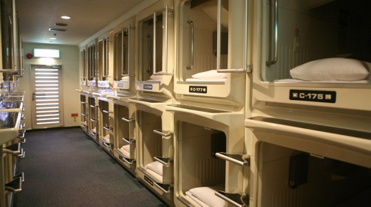 New Year's Eve in a capsule hotel.