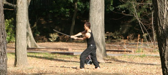 Training in a Tokyo park.
