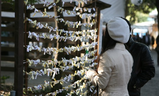 Omikuji – Fortune papers tied outside a temple.