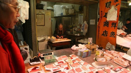Fish shop in a Osaka food market.