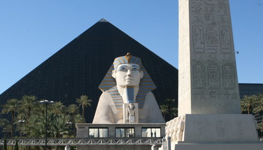 The Luxor casino. 4,400 rooms in the pyramid.